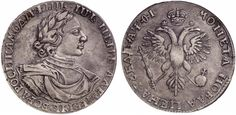Rouble AYQI. Large head, Special eagle´s tail. Russian Coins. Peter I. 1689-1725. (1719) OK. Bit 281. EF. Price realized 2011: 3.250 USD.