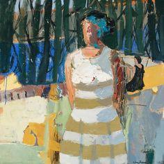 Linda Christensen, abstract figurative painting, Lifeguard 40x40