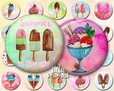 "Ice Cream digital collage sheet, watercolor ice cream, 1"" Circles, Round Images, Bottle cap Images, Magnet, Button, Pin, Jewelry Supplies"