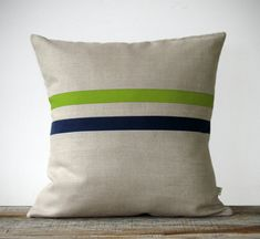 Lime and Navy Striped Linen Pillow 16x16 - Colorful Home Decor by JillianReneDecor via Etsy