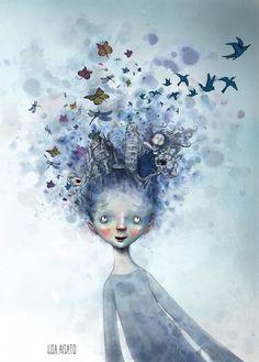 Om barn og kultur i DBMagasinet Art And Illustration, Cartoon Drawings, Art Drawings, Old Postcards, Hair Art, Betty Boop, Love Art, Whimsical, Poster