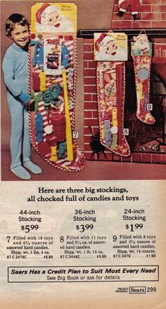 Sears Christmas Catalog 1975 I remember these toy stockings I was a year and a half old - look at how BIG that freakin stocking is & how cheap it is!!! Crazy how times have changed.