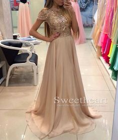 Unique A-line round neck chiffon sequin long champagne prom dress for teens, formal dress