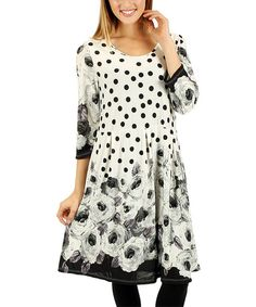 Look at this Aster Black & White Floral Polka Dot A-Line Dress on #zulily today!