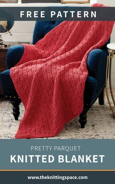 This Pretty Parquet Knitted Blanket is an absolute stunner that's worthy to be displayed on your living space. Featuring a gorgeous basketweave effect, this chunky-textured blanket will add a cozy and warm vibe to your room. It's an excellent housewarming gift for excited new home owners, too! | Discover over 5,500 free knitting patterns at theknittingspace.com #knitpatternsfree #easyknittingprojects #DIY #howtoknitblankets #giftideas