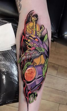 Evangelion tattoo by Brando Chiesa at Blood Brotherhood Florence Italy.