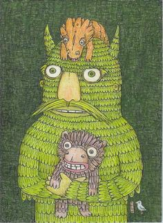 Theo Ellsworth. Marvelous inspiration for a themed assignment about friendly monsters. Focus on repetition and pattern.
