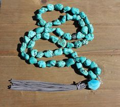Big Leather Tassel, Grey Leather, Beaded Necklaces, Beaded Jewelry, Knot Necklace, Jewellery Storage, Turquoise Bracelet, Tassels, Unique Gifts