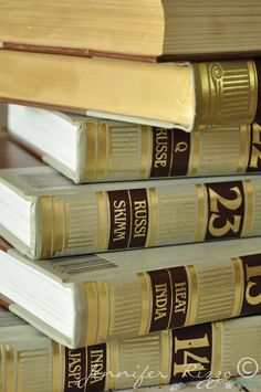 Repurpose old encyclopedia's into aged display books…..