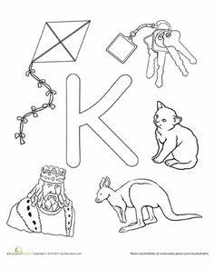 Help your preschooler learn the alphabet and practice letter K sounds all while… Letter K Crafts, Letter Worksheets For Preschool, Alphabet Crafts, Preschool Letters, Alphabet Worksheets, Preschool Activities, Printable Alphabet, Writing Worksheets, Alphabet Coloring Pages