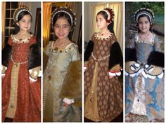 For a long time I've wanted to create costumes and finally started making little girls' Tudor dresses last year (Fall mainly for use at the Renai. Child's Tudor Collection - Dresses and Accessories Renaissance Mode, Renaissance Costume, Medieval Costume, Renaissance Fashion, Medieval Dress, Medieval Clothing, Tudor Costumes, Period Costumes, Historical Costume