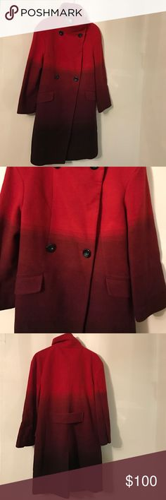 Worthington Womens Red Ombre Wool Coat New without Tags. A comfortable, long wool coat in a stylish, ombre fashion. Double-breasted front stand. Worthington Jackets & Coats Pea Coats