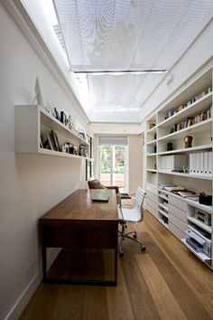 Houzz | Office Decorating | Narrow Entryway table | Built-in shelves. I want the setup on the right, plus some file drawers in there some how.