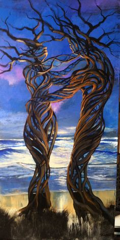 made by: Ford Smith , 'Driftwood Couple' - Painting Tree Of Life Art, Tree People, Couple Painting, Tree Artwork, Illusion Art, Art Plastique, Love Art, Amazing Art, Fantasy Art