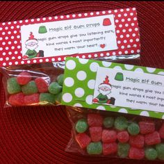 Magic Elf Gumdrops with Printable Treat Topper: Cute for a school class party treat. Christmas Treat Bags, Christmas Favors, Christmas Eve Box, Christmas Snacks, Christmas Activities, Christmas Goodies, Christmas Printables, Christmas Candy, Christmas Holidays