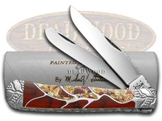 CASE XX PAINTED PONY Exotic Red Vein Inlay Trapper 1/10 Custom Pocket Knife -