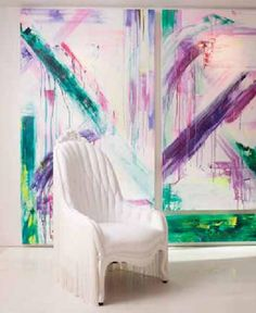 Custom Abstract, installed and showing in Michelle Dirkse Interior Design Office, 2405 1st Ave, Seattle WA USA, featured in Gray Magazine