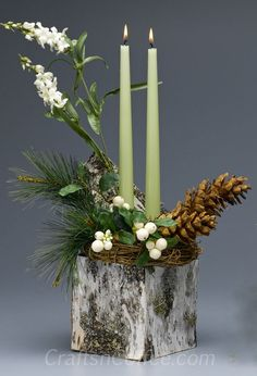 How to make a natural theme Christmas tablescape with Birch Bark Candle Cube centerpiece ake