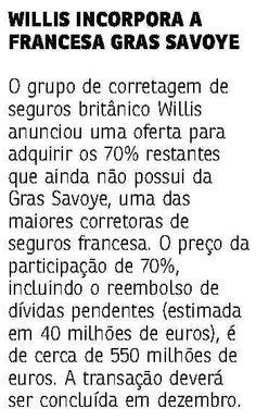 Wiilis incorpora a francesa Gras Savoye. Veículo: Jornal do Commercio RJ. Data 15/05/2015 Cliente: Willis