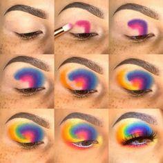 Makeup Eye Looks, Eye Makeup Steps, Eye Makeup Art, Colorful Eye Makeup, Crazy Makeup, Cute Makeup, Makeup Eyeshadow, Dark Eyeshadow, Makeup Tips