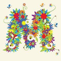 Letter M, floral design