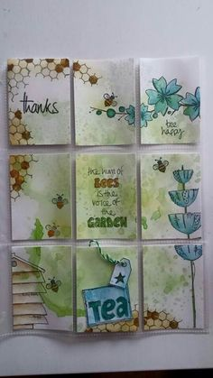 Pocket letter created by Wini with distress inks and Jofy stamps.