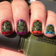 Ninja Turtle Nails. this is going down.  I can think of a certain daughter in law of mine that should try these:)