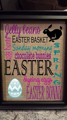 Burlap Print - Easter - Easter Subway Art - Easter Eggs - Bunny - Holiday Art - Spring - Housewarming - 8.5 x 11 - Burlap ONLY on Etsy, $22.76 CAD