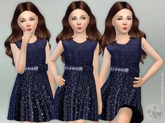 Blue Sparkle Dress Found in TSR Category 'sims 4 Female Child Everyday' Sims 4 Teen, Sims 4 Toddler, Sims Cc, Sims 4 Cc Kids Clothing, Sims 4 Mods Clothes, Children Clothing, Black Little Girls, Beautiful Little Girls, Sims 4 Children