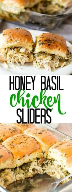 A light and fresh and super tasty weeknight meal, these Honey Basil Chicken Sliders are a family favorite for everyone! (Chicken Meals For Kids) Appetizer Recipes, Dinner Recipes, Appetizers, Appetizer Sandwiches, Party Sandwiches, Antipasto, Slider Sandwiches, My Burger, Mini Burgers