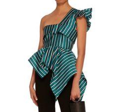 Turquoise Shirt, One Shoulder, Blouse, Shirts, Tops, Women, Fashion, Moda, Fashion Styles