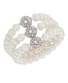 Carolee Bracelet, Glass Pearl Three Row