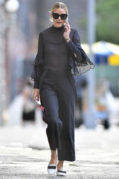 Olivia Palermo wearing Perverse Dawn Patrol Sunglasses and Jimmy Choo Gala Flats in White