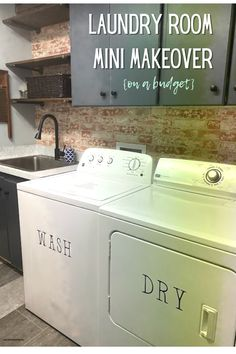 From painting the rusted washer and dryer to painting the cabinets- check out my laundry room makeover! Moola Saving Mom, Diy Craft Projects, Washer And Dryer, Laundry Room, Budgeting, Cabinets, Home Appliances, Mini, Check