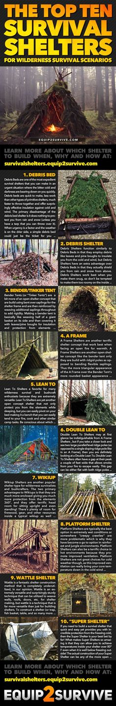 The TOP 10 Survival & Bushcraft Shelters to keep you alive during an emergency! The ten best shelters you can build in survival situation and when each is at its best! 9 out of the 10 can be built using 100% natural materials! Learn when, why and how to build each of these shelters so you can prevail in any conditions! See the full-sized high-resolution infographic at equip2survive.com!