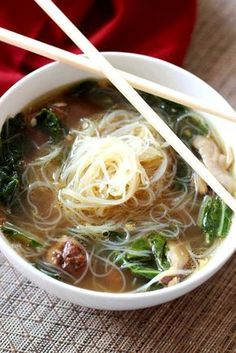 Asian Chicken Noodle Soup by recipesworthrepeating Soup Chicken Noodle Asian Asian Chicken Noodle Soup, Asian Soup, Rice Noodle Soups, Asian Noodle Soups, Noodle Bowls, Recipes With Rice Noodles, Chinese Noodle Recipes, Recipe For Chinese Soup, Chicken Pho
