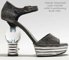Illuminated Sequined Goatskin Shoes With Functional Lightbulb