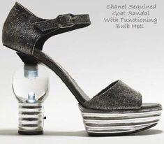 Illuminated Sequined Goatskin Shoes With Functional Lightbulb