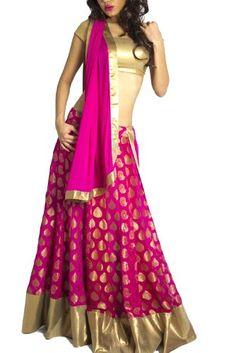 Pink Banarasi Lehenga with Gold Sequin Choli