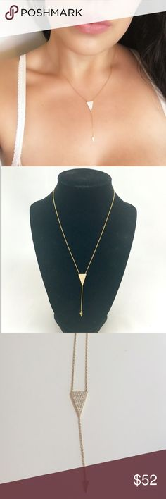 Large Triangle Lariat Large triangle lariat is a beautiful fashion piece! The necklace is 14k Gold over Sterling Silver, the CZ accents are top quality for a beautiful shine  These beauties were featured at a Bloomingdales trunk show! Bloomingdale's Jewelry Necklaces