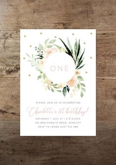 RV offers the printable Gold Flora birthday invitation. Whether youre a lover of funky typography or watercolour floral prints, this design is guaranteed to add sparkle to your celebration. • Invitation size: 5 x 7 • High-res 300ppi digital design, with your text inserted by RV •