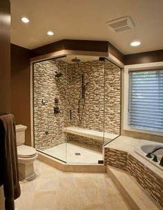 Bathroom Design: Gorgeous tile work in this shower and tub surround. | www.HomeChannelTV.com #bathroomdesign