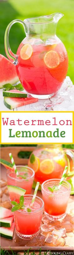 Sommer Sonne Wassermelone -auch als Limonade einfach ein Traum *** Watermelon Lemonade - my new favorite summer drink and the perfect use for those big watermelons! It is incredibly refreshing!