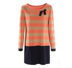 Stripes Long Sleeves Orange Sweater