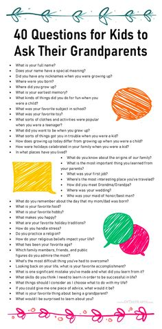 These questions will help kids learn biographical information, family history details, life lessons, and practical skills from their grandparents. History 40 Questions for Kids to Ask Their Grandparents Just In Case, Just For You, History Jokes, History Timeline, Family History Book, Personal History, History Projects, Family Genealogy, Grandparents Day