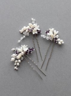 Pop of Purple | Set of 3 bridal hair pins for Mary