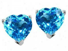 Heart Shaped with Blue Stones | 2484615936 genuine heart shape blue topaz earring studs genuine heart