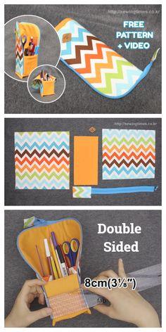 Pencil Case Pattern, Zipper Pencil Case, Pouch Pattern, Pencil Pouch, Pencil Case Tutorial, Diy Pencil Case, Pencil Holder, Sewing Patterns Free, Free Sewing