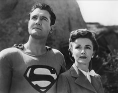 George Reeves in his first black and white (actually, brown and grey) Superman costume. This pic is from his very first appearance in Superman and the Mole-Men, with my favorite Lois Lane, Phyllis Coates.