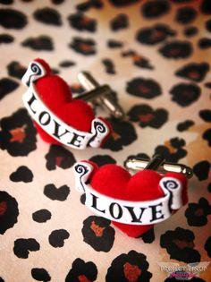 Love Tattooed Heart Men's Rockabilly Cufflinks by ProjectPinup, $14.99